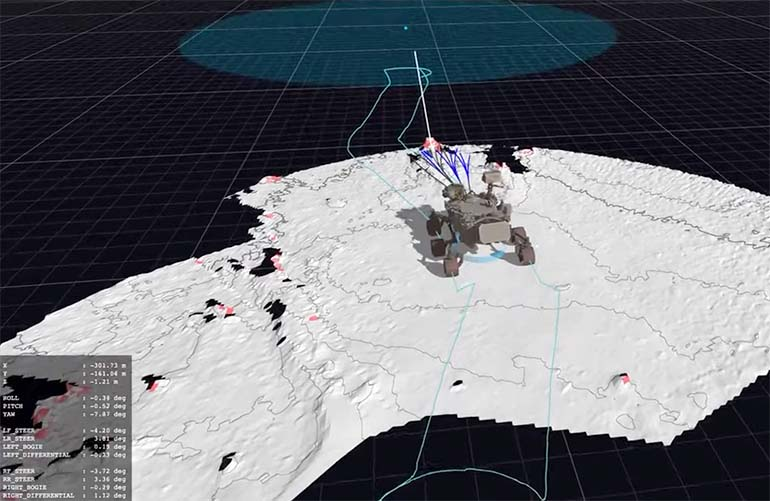 a screenshot of a simulated naviation sequence for the mars perseverance rover