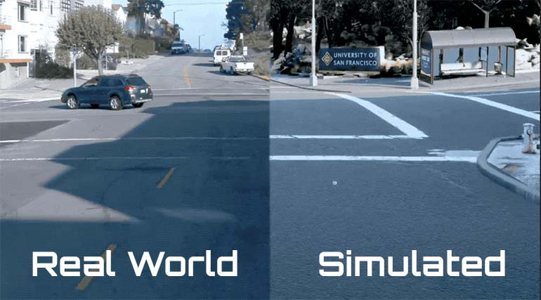 A split screen image showing the real world versus a simulation of the same scene in SimuilationWorld
