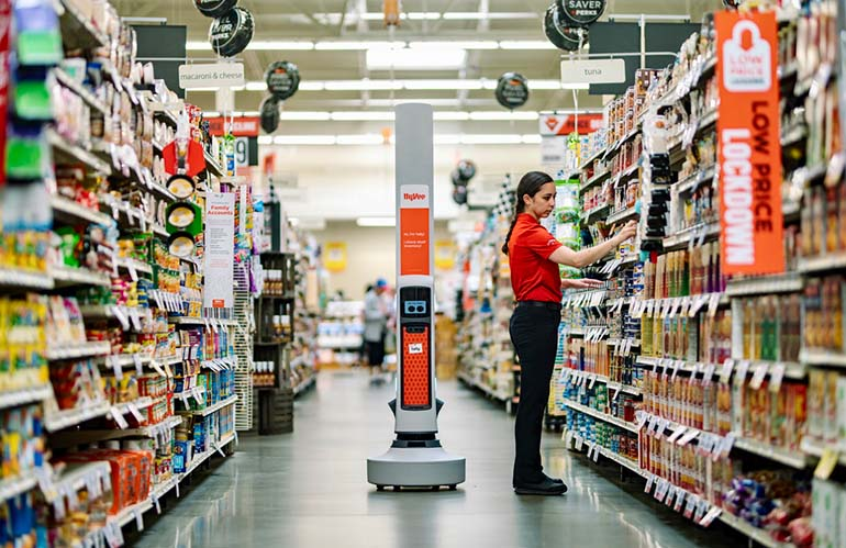 Simbe Tally robot in a Hyvee grocery aisle