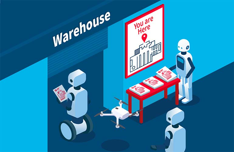 SlamCore cartoon of robots looking at a map before entering a warehouse